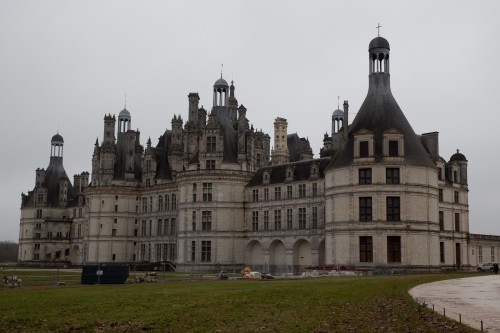 Back side of Chateau Chambord, but moat is under construction