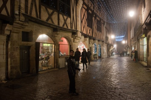 Streets of Dijon with Christmas lights still up